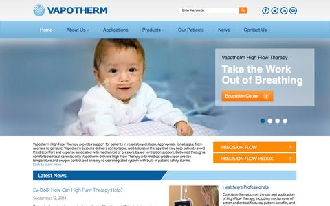 Screenshot of Home Page vtherm.com - Welcome to Vapotherm   High Flow Therapy   High Flow Nasal Cannula Providing Respiratory Support for Patients in Respiratory Distress - captured Sept. 17, 2014