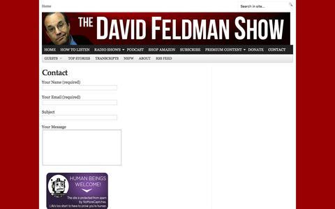 Screenshot of Contact Page davidfeldmanshow.com - DAVIDFELDMANSHOW.COM     Contact - captured Feb. 8, 2016