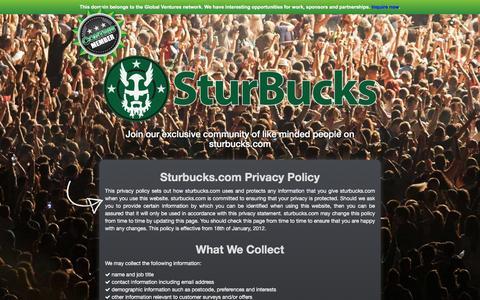 Screenshot of Privacy Page sturbucks.com - Sturbucks.com - Privacy & Policy - captured Feb. 26, 2016