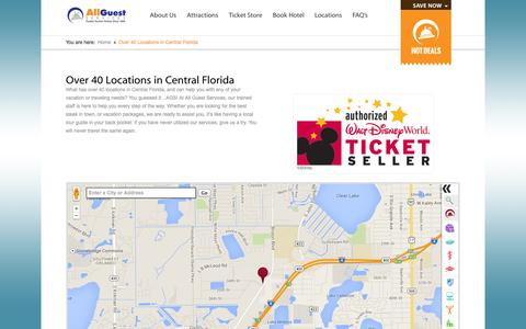 Screenshot of Locations Page allguest.com - Over 40 Locations in Central Florida | Disney World Tickets | Discount Attraction Tickets | Hotels - captured Oct. 4, 2014