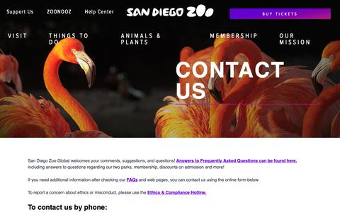 Screenshot of Contact Page sandiegozoo.org - Contact Us | San Diego Zoo - captured Jan. 15, 2019
