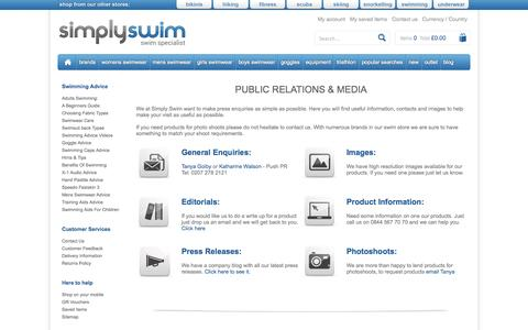 Screenshot of Press Page simplyswim.com - Public Relations and Media       Simply Swim UK - captured Sept. 24, 2014