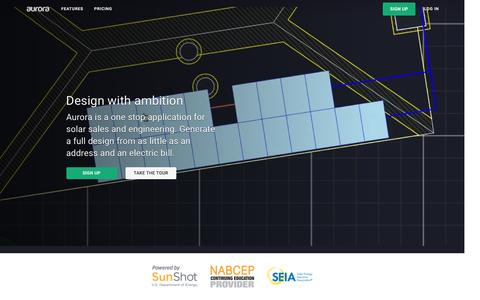 Screenshot of Home Page aurorasolar.com - Solar Design and Sales · Aurora Solar - captured July 27, 2016