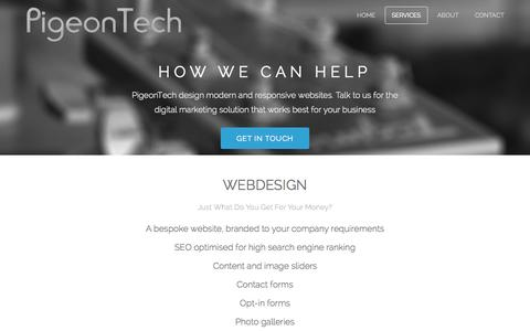 Screenshot of Services Page pigeontech.co.uk - PigeonTech - Services - captured Nov. 2, 2014