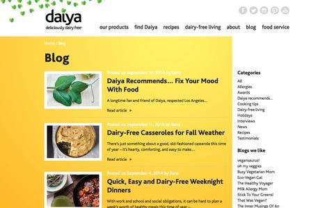 Screenshot of Blog daiyafoods.com - Blog | Daiya Foods - captured Sept. 19, 2014