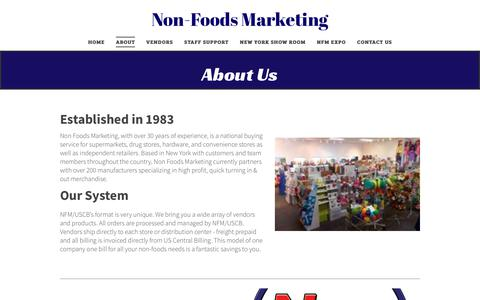 Screenshot of About Page nonfoodsmarketing.com - Non-Foods Marketing - captured Sept. 20, 2018