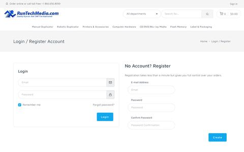 Screenshot of Login Page runtechmedia.com - Login - RunTechMedia - captured July 10, 2018