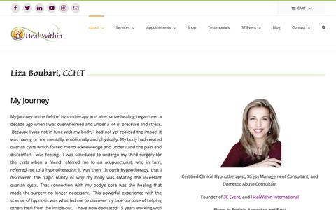 Screenshot of About Page healwithin.com - About Liza Boubari - Certified Clinical Hypnotherapist - captured Nov. 14, 2018