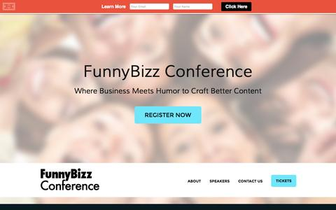 Screenshot of Home Page About Page Contact Page funnybizz.co - FunnyBizz Conference « Where Business Meets Humor to Craft Better Content - captured Sept. 30, 2014