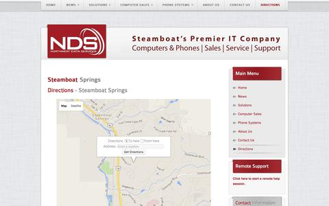 Screenshot of Maps & Directions Page northwestdata.com - Northwest Data Services - Steamboat Springs Premier Computer & Phone Sales | Support | Service - Directions - captured Feb. 27, 2016