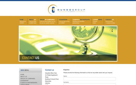 Screenshot of Contact Page Maps & Directions Page gundogroup.co.za - Contact us - captured Sept. 30, 2014