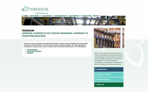 Screenshot of Press Page verenium.com - Verenium-News - captured Sept. 17, 2014
