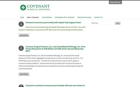 Screenshot of Press Page covenantsurgicalpartners.com - News | Covenant Surgical Partners - captured Sept. 13, 2014