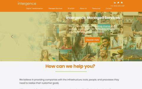 Screenshot of Home Page intergence.com - Digital Consultancy and Services | Cambridge | Intergence Systems - captured Nov. 14, 2018