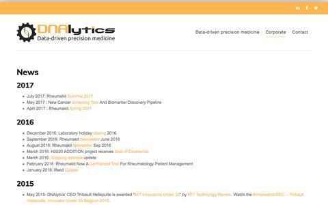 Screenshot of Press Page dnalytics.com - News | - captured Aug. 5, 2018