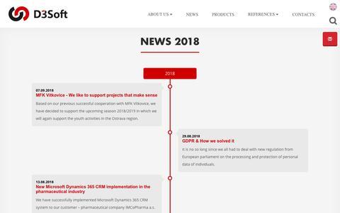 Screenshot of Press Page d3soft.eu - News 2018 | D3Soft s.r.o. - captured Oct. 7, 2018