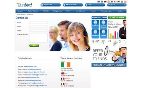 Screenshot of Support Page sunbirdfx.com - Contact Us | SunbirdFX - captured Sept. 19, 2014