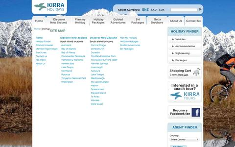 Screenshot of Site Map Page kirraholidays.com - Discover New Zealand: Kirra Holidays - The New Zealand Specialists - captured Oct. 26, 2014