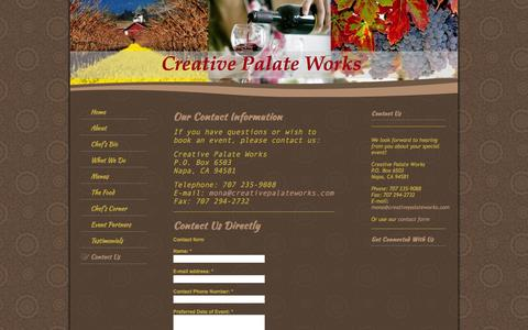 Screenshot of Contact Page creativepalateworks.com - Creative Palate Works - Contact Us - captured Sept. 30, 2014