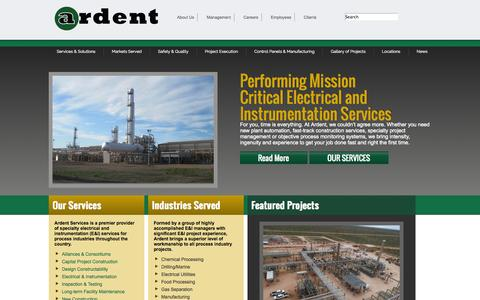 Screenshot of Home Page ardent.us - Ardent Services | Electrical & Instrumentation Services | - captured Oct. 4, 2014