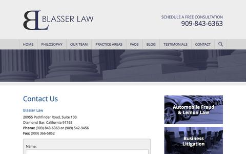Screenshot of Contact Page blasserlaw.com - Contact Us | Blasser Law - captured June 1, 2017