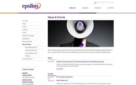 Screenshot of Press Page epsilon.com - Epsilon | News & Events - captured Sept. 18, 2014