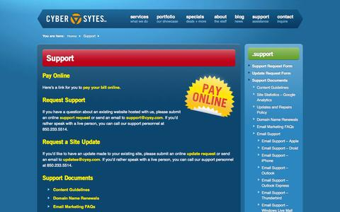Screenshot of Support Page cysy.com - Panama City Beach Florida Website Support   CYber SYtes, Inc. - captured Oct. 5, 2014