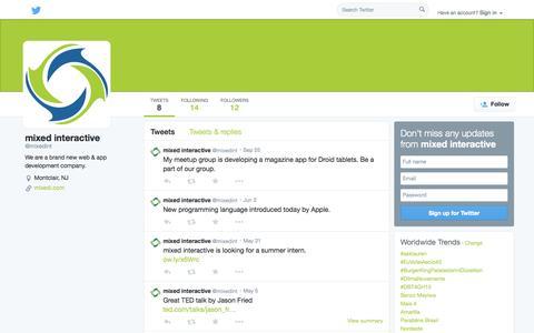Screenshot of Twitter Page twitter.com - mixed interactive (@mixedint) | Twitter - captured Oct. 26, 2014