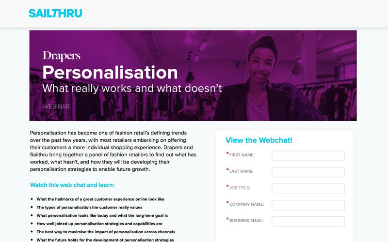 Drapers Personalisation Webinar   What really works and what doesn't   April, 11 2017, 2:30pm GMT
