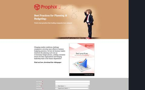 Screenshot of Landing Page prophix.com - Best Practices for Planning & Budgeting - captured Feb. 22, 2016