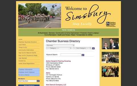 Screenshot of Services Page simsburycoc.org - Simsbury Chamber of Commerce - Simsbury CT - Chamber Business Directory - captured Oct. 4, 2014
