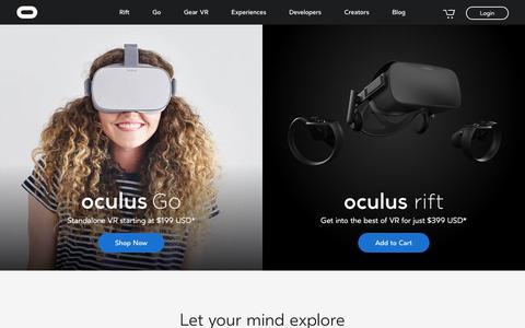 Screenshot of Home Page oculus.com - Oculus - captured Nov. 11, 2018