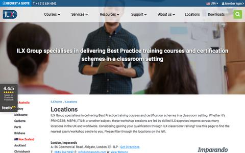 Screenshot of Locations Page ilxgroup.com - London Project Management Courses Including PRINCE2® | ILX USA - captured Feb. 17, 2018