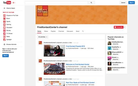 Screenshot of YouTube Page youtube.com - FirstKontactCenter's channel  - YouTube - captured Oct. 23, 2014