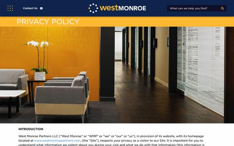 Screenshot of Privacy Page westmonroepartners.com - Privacy Policy | West Monroe Partners - captured Jan. 18, 2018