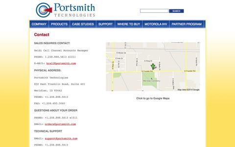 Screenshot of Contact Page portsmith.com - Contact | Portsmith Technologies - captured Oct. 8, 2014
