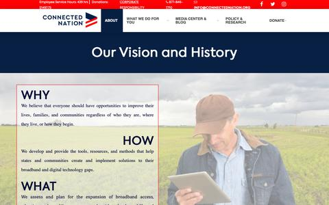 Screenshot of About Page connectednation.org - Vision and History - captured Sept. 29, 2018