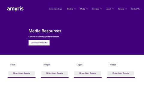 Screenshot of Press Page amyris.com - Media Resources » Amyris - captured May 25, 2019