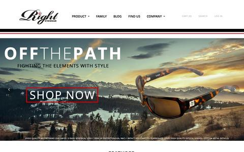 Screenshot of Home Page righteyewearworldwide.com - Right Eyewear - Sunglasses and Apparel | Right Eyewear - Sunglasses and Apparel - Costa Mesa, California - captured Jan. 26, 2015