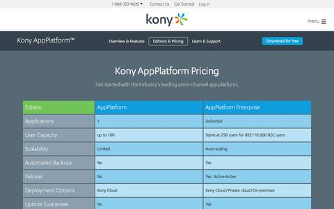 Screenshot of Pricing Page kony.com - AppPlatform Pricing | Kony - captured Sept. 27, 2017