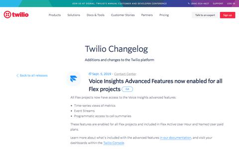 Screenshot of Case Studies Page twilio.com - Voice Insights Advanced Features now enabled for all Flex projects - captured Nov. 28, 2019