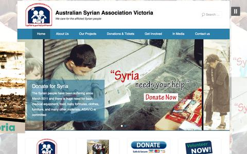 Screenshot of Home Page Menu Page asavic.org.au - Australian Syrian Association Victoria | We care for the afflicted Syrian people - captured Oct. 4, 2014
