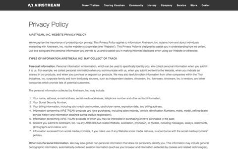 Screenshot of Privacy Page airstream.com - Privacy Policy, Travel Trailers, Touring Coaches | Airstream - captured Aug. 2, 2017