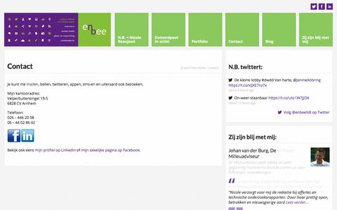 Screenshot of Contact Page enbee.nl - Contact | N.B. tekst & advies | Arnhem, Gelderland | tekst, communicatie en sociale media - captured Oct. 18, 2017