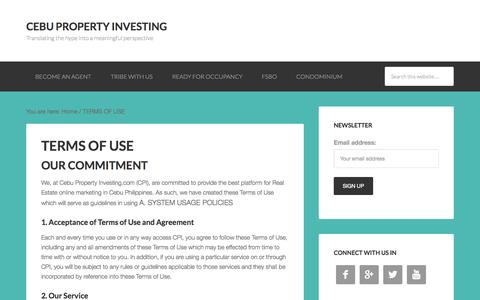 Screenshot of Terms Page cebupropertyinvesting.com - TERMS OF USE - captured Oct. 27, 2014