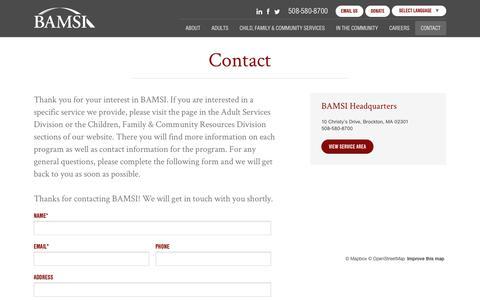Screenshot of Contact Page bamsi.org - Contact - BAMSI - captured July 25, 2018