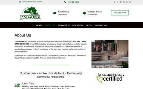 Screenshot of About Page landworks-inc.com - About Us - Landworks-Inc, LLC - Kansas City - Overland Park - captured July 16, 2018