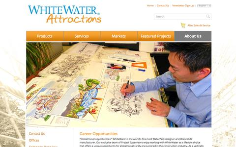 Screenshot of Jobs Page whitewaterattractions.com - Career Opportunities | WhiteWater Attractions - captured Oct. 27, 2014