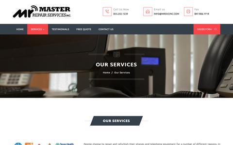 Screenshot of Services Page mrsvcinc.com - Master Repair Services - Our Services - captured Nov. 2, 2018