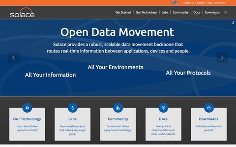 Screenshot of Developers Page solace.com - Home - Solace Developer Portal - captured June 15, 2017